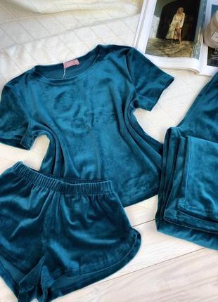 Плюшевая изумрудная пижама тройка, футболка, шорты и шианы, комплект для дома4 фото