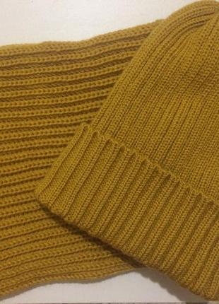 Горчичный набор на зиму,шапка и снуд