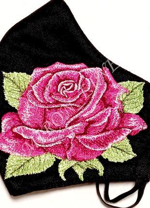 "Маска многоразовая с вышивкой ""роза"""