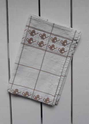 Льняное полотенце, с чайниками, кухонний рушник, полотенце кухонное 64×48 ссср