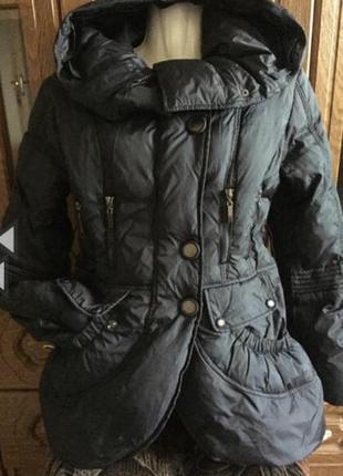 Пуховик куртка женская с капюшоном раз s-m (44-46)