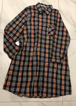 Трендовая  удлиненная рубашка платье тёплая  распродажа