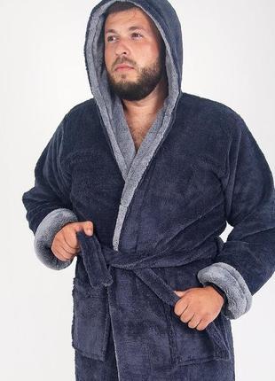 Мужской халат махровый, длинный серого цвета3 фото