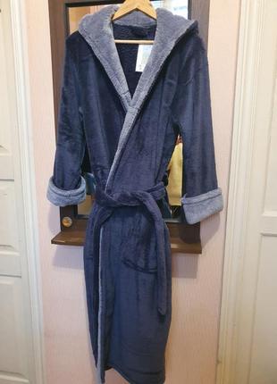 Мужской халат махровый, длинный серого цвета5 фото