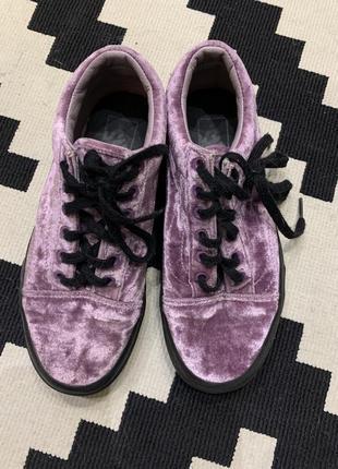 Vans оригинал велюровые бархат кеды фиолетовые