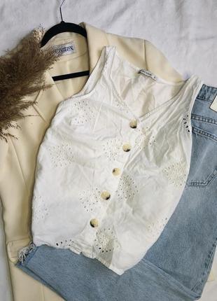 Белая блуза, майка, с пуговицами