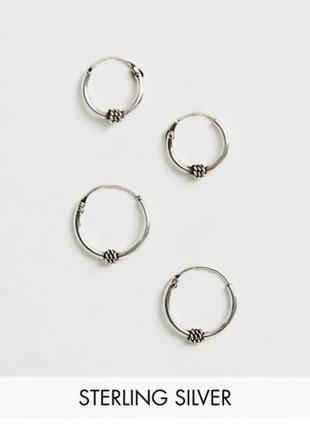 Набор серкдеу колечек кольца серебро 2 пары kingsley ryan asos