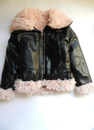 ✅ демисезонная куртка дублёнка авиатор с мехом разные размеры укороченный рукав