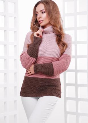 Идеальный трехцветный теплый свитер под горло