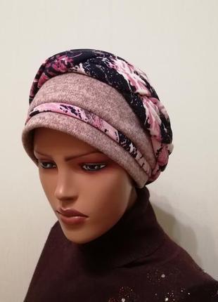 Красивая шапка чалма 56-58 пудра