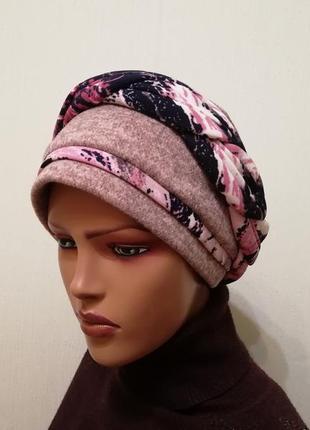Красивая тёплая шапка чалма 56-58 флис