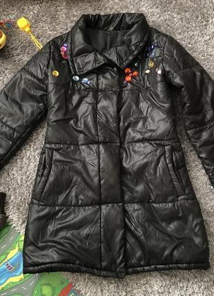 Деми курточка 44 р. длинная