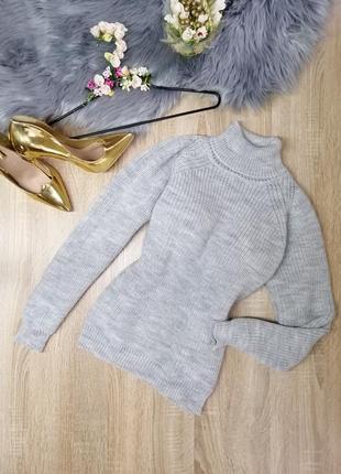 Тёплый вязаный свитер ручной работы серый свитер из шерсти s m oversize