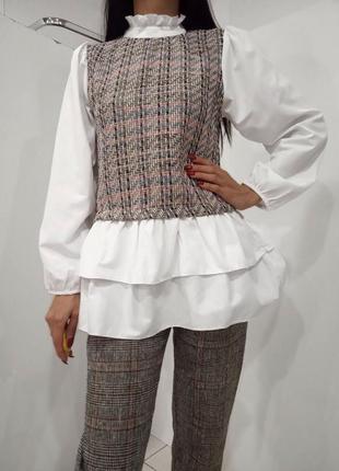 Женская рубашка со вставками из буклированной ткани