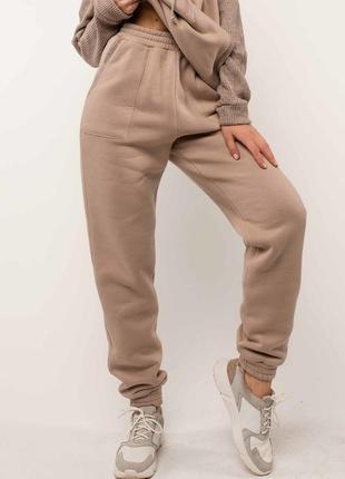 Женские бежевые спортивные брюки на флисе с высокой посадкой (бр 1320 rmmr)