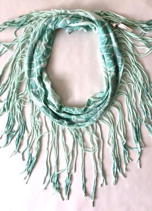 Крутой стильный хлопковый мятный шарф с бахромой diesel