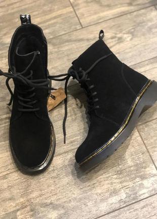 Натуральные замшевые деми ботинки/наложка 100 грн
