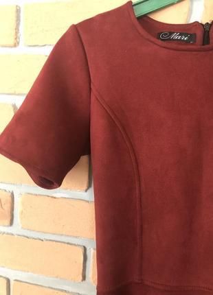 Платье, замшевое платье, платье до колена, бордо цвет