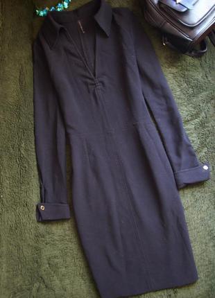 Платье с воротничком запонками строгое классика миди