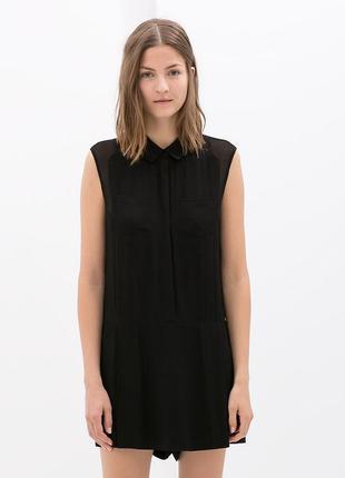 Новое платье zara комбинезон рубашка черное черный мини короткое ромпер трендовое