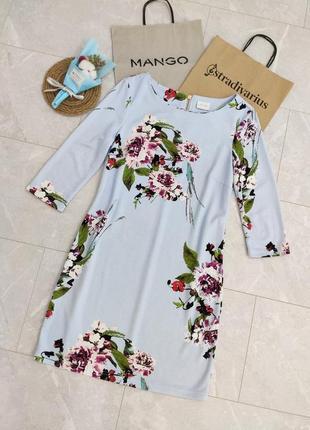 Красивое нежное платье голубое в цветочный принт тёплое осеннее весеннее зимнее обмен