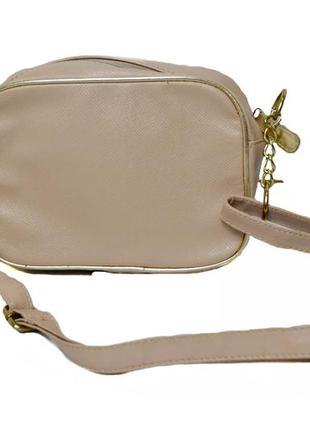 Маленькая женская бежевая сумка с длинной ручкой. код п34986