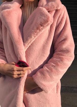 Шуба плюшевая пудра розовая, молочная нюд удлинённая барашек, кролик эко демисезонная