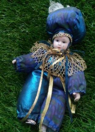 Восточный принц арлекин кукла фарфоровая в одежде винтаж интерьерная