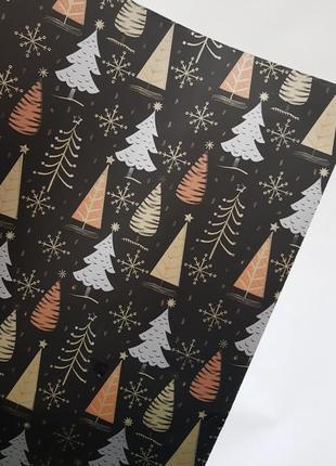 Бумага для упаковки подарков елки на черном 9 м