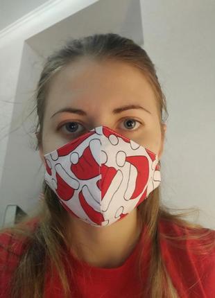 Многоразовая анатомическая маска, защитная новогодняя маска хлопок