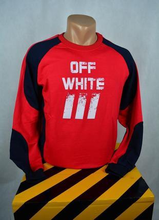 Реглан off white красный с черными вставками. турция 100% коттон