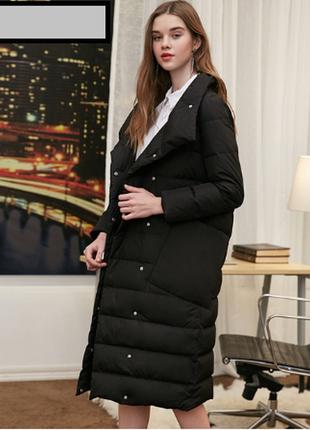 🔥 длинный пуховик /пуховое пальто 90% натуральный пух 🦆 vero moda🔥