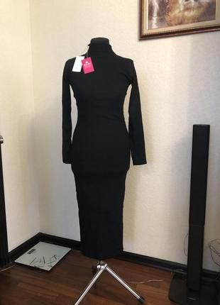 Базовое тёплое платье гольф трикотаж рубчик