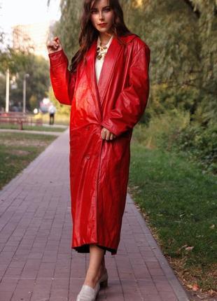 Брендовое натуральное кожаное длинное двубортное пальто оверсайз тренч плащ