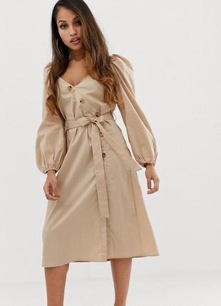 Платье на запах оверсайз свободное с пуговицами миди поясом рукавами фонариками объёмные