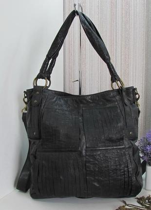 Кожаная сумка шоппер, 3suisses, франция, натуральная кожа