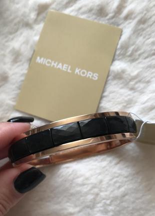 Новый черный браслет оригинал  michael kors rose gold-tone faceted bracelet