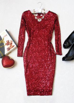 Шикарное платье в пайетках с красивой спинкой, размер s/m, см. замеры