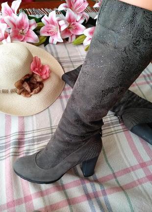 #black friday 💣зимние сапоги сапожки нарядные серые  на каблуке чобітки 36 розмір