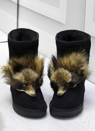 Новые женские зимние замшевые чёрные сапожки  угги с опушкой
