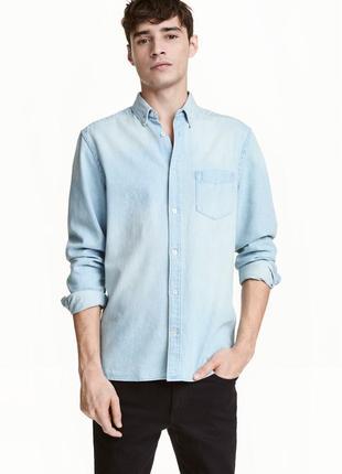 Джинсовая рубашка h&m, regular fit !