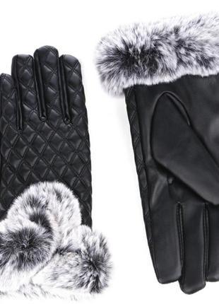 Перчатки женские зимние утепленные черная эко-кожа