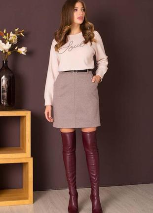 Теплая юбка трапеция на осень-зиму. два цвета.