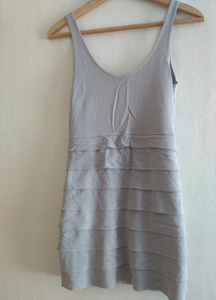 Серое короткое платье h&m