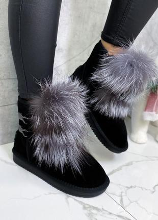 Новые замшевые зимние чёрные ботинки короткие угги с опушкой