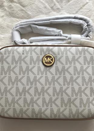 Новая сумка кросс боди michael kors vanilla оригинал с принтом мк
