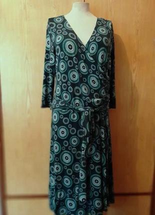 Вискозное зелёное платье на запах , 44/2xl.