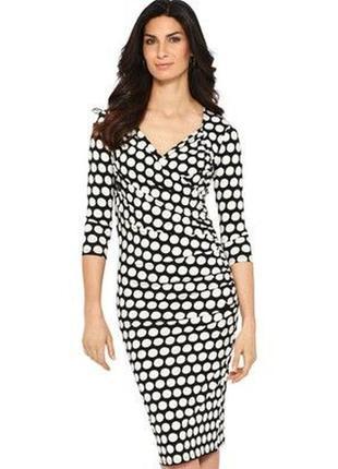 Красивое черное платье в белый горох, 2xl-3xl