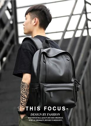 Кожаный рюкзак с usb шнур. сумка портфель кожа. мужской рюкзак для ноутбука