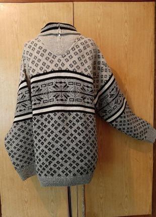 Полушерстяной серый свитер на молнии, 54/ 3xl.